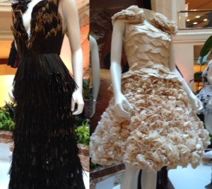 Dresses Made From Coffee Stirrers (l) and Coffee Filters (r)